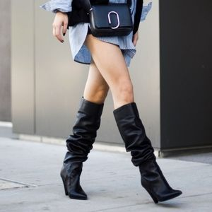 Marc Fisher Fancee Black Leather Slouch Boots 7